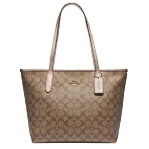 NEW COACH Zip Top Tote in Signature Canvas